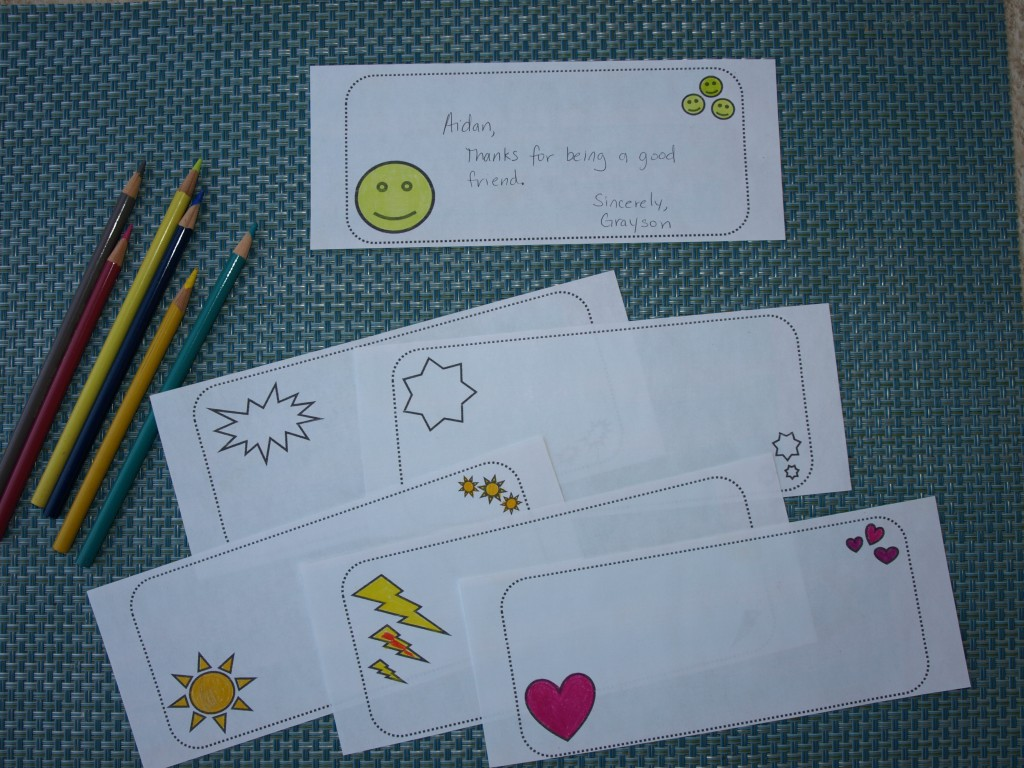 Scrapbook slips to use for writing notes or compliments