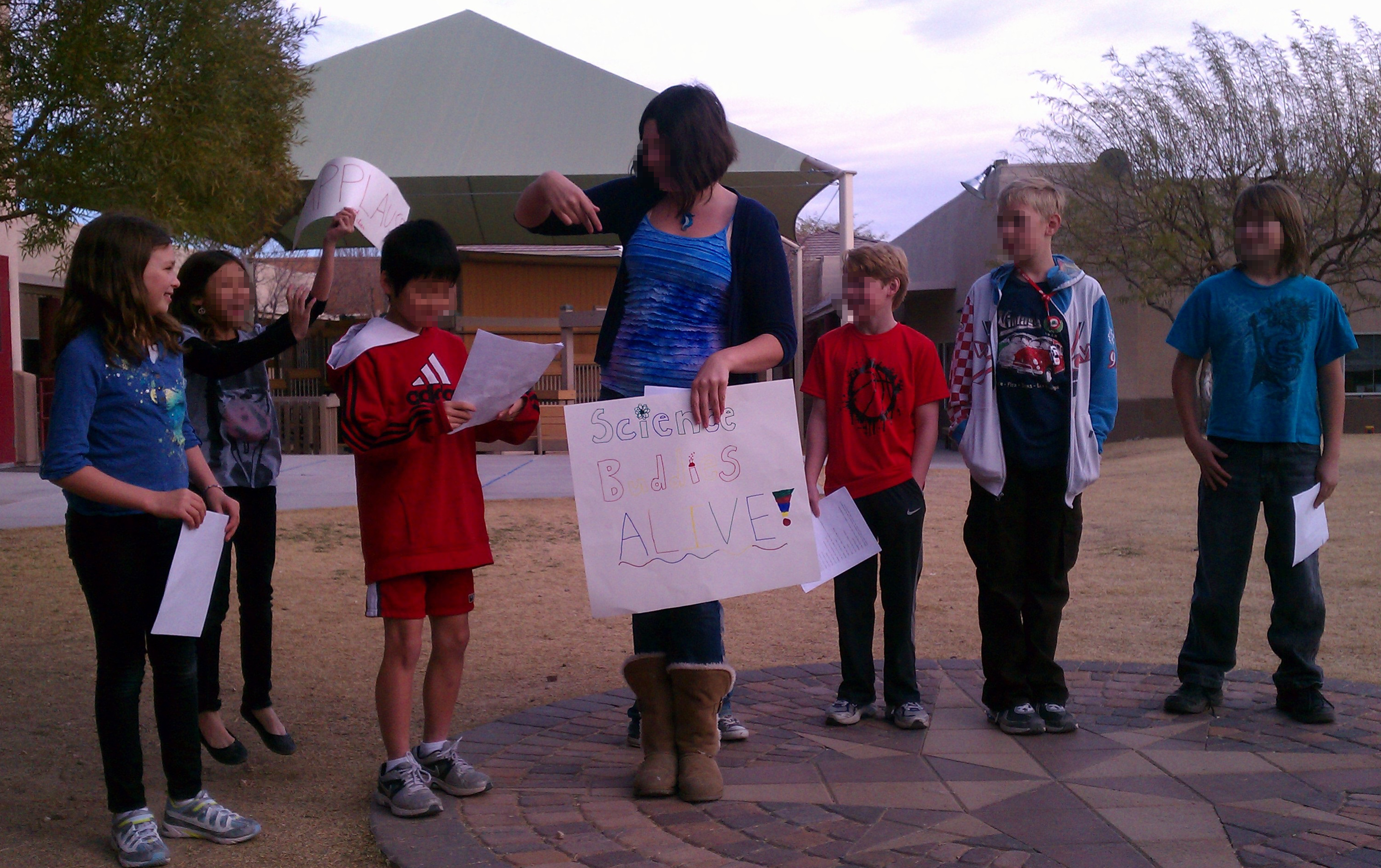 Students presenting a science skit