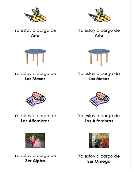 This is one page of a job chart that was used in a Spanish immersion Lower Elementary class. We also used clothespins with students names on them with this.
