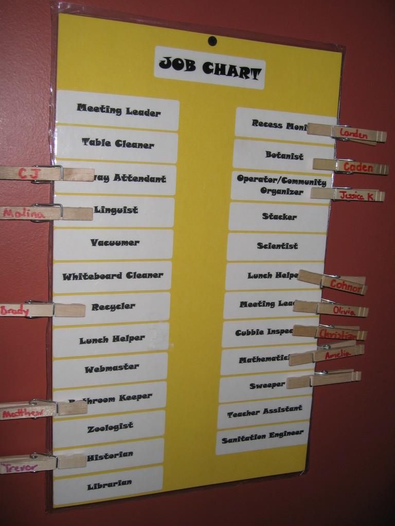 Simple job chart for an Upper Elementary class. Using clothespins with children's names on them as markers for each job.
