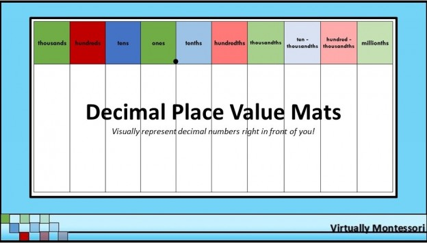 "Decimal Place Value Charts / Mats - 8.5""X11"" - Virtually Montessori"