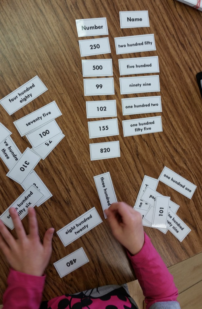"""Numbers and their names"" card sort"