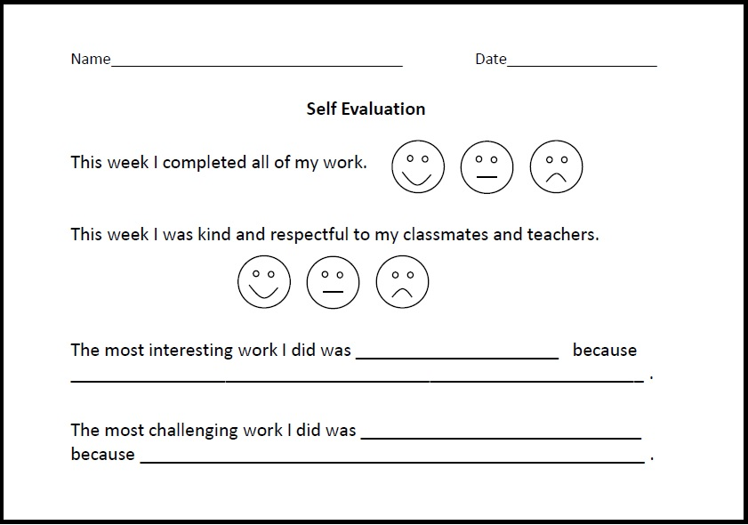 Student Self Evaluation Form - Virtually Montessori