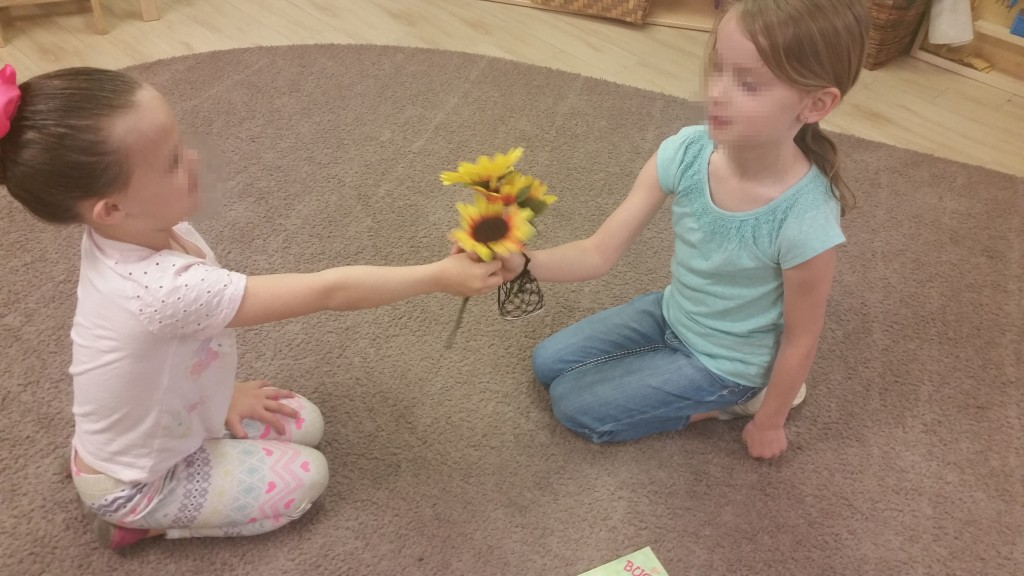 Practicing conflict resolution using the peace flower.