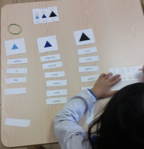 First year elementary student identifying parts of speech and symbolizing using Montessori grammar symbols