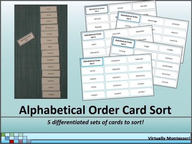 Alphabetical Order Card Sort